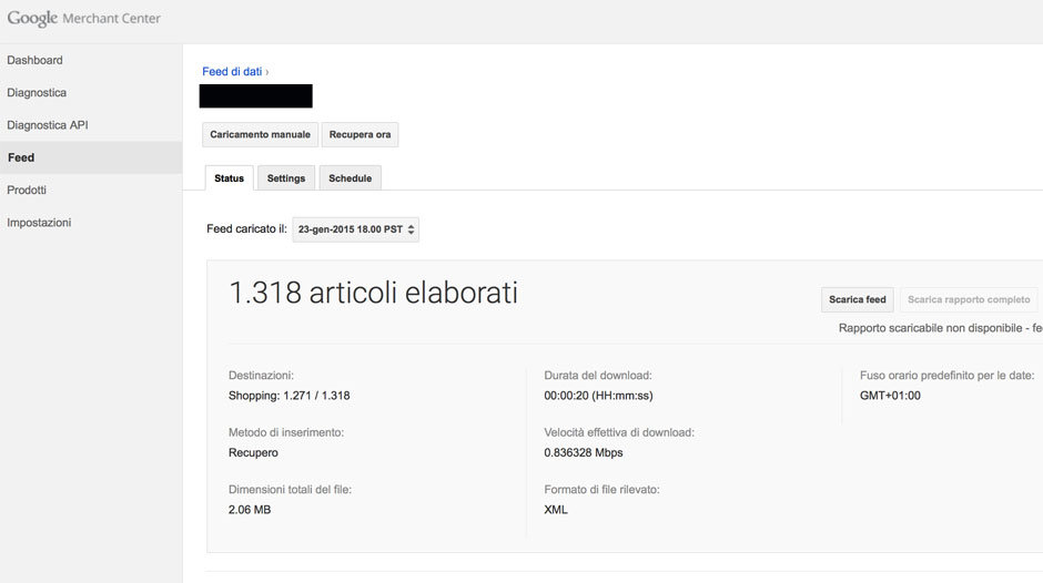 realizzazione feed dati per google shopping