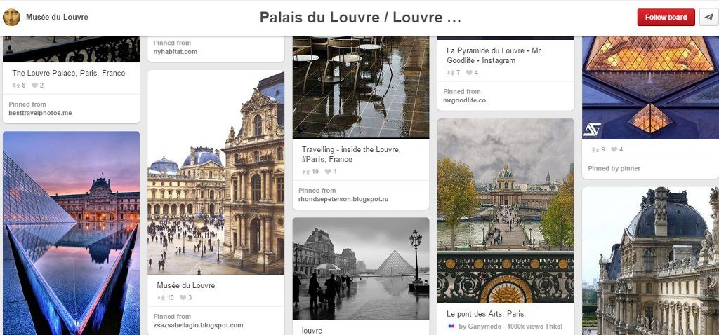 web marketing turistico: louvre su pinterest